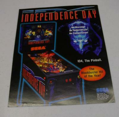 "1996 Sega ""Independence Day"" Pinball Factory Sales Flyer Free USA Shipping!"