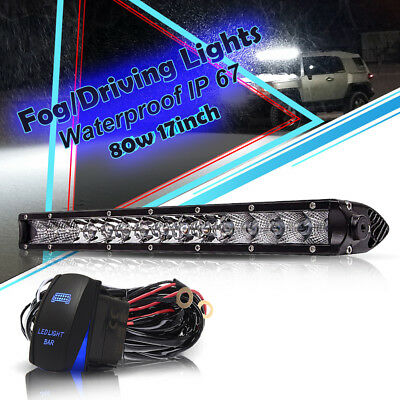 17inch 80W LED COMBO Light Bar Offroad For Chevy JEEP Truck With Free Wiring kit