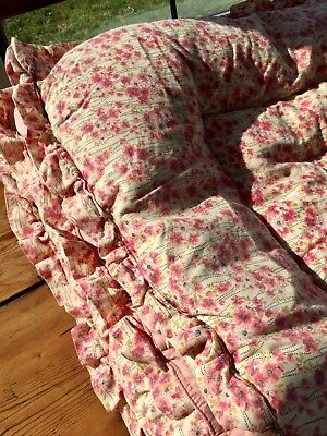 Vintage 1930's - 40's s feather filled double eiderdown quilt - PINK