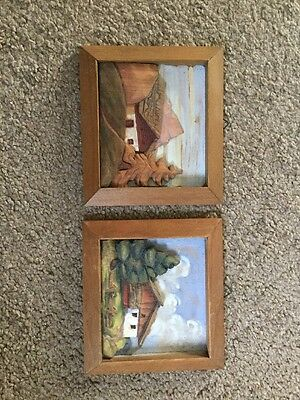 Decorative Wooden Wall Plaques From Cortina Italy 1949 12 X 13.2 Cm Vintage Rare