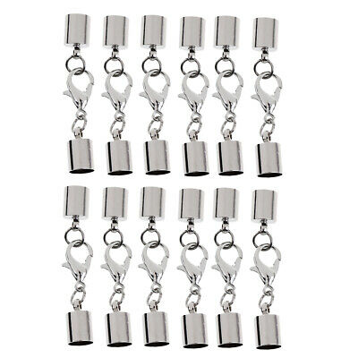 12pcs Stainless Steel Leather Cord Bracelet End Caps with Lobster Clasps