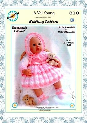 """DOLLS KNITTING PATTERN no 310 for /ANNABELL 18""""/19"""" doll by Daisy-May."""