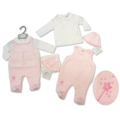 baby girl pink dungaree outfit top hat new born 0-3 months gift shower new