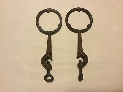 "Pair Vintage 3"" Cast Iron Support Stand Rings with Clamps -  Lab Science Beaker"