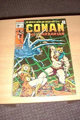 Conan the Barbarian 4 Marvel April 1971 Bronze age VG+ Cents issue Barry Smith