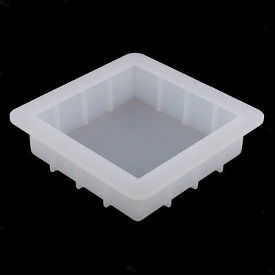 Handmade Square Soap Mold Silicone Ice Mould Tray Cake Loaf Baking Craft DIY