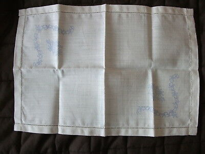 Vintage Linen 'tray Cloth' With Transfers For Embroidery - Nice Quality
