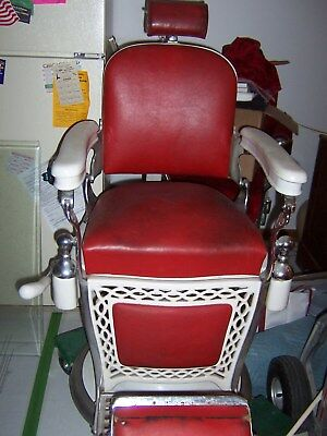 Vintage antique Emil J. Paidar Barber's chair with leather strap and kids seat
