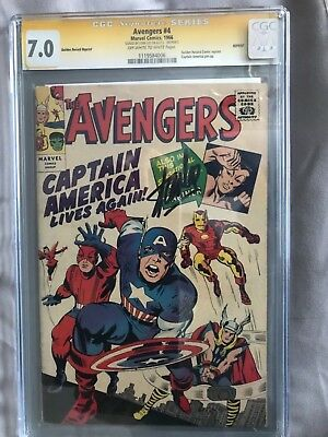 CGC SS 7.5 GRR 1966 Avengers #4 High grade signed by Stan Lee Key 1st silver cap