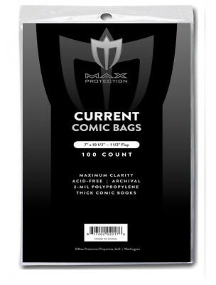 200 Max Pro Thick Current Modern Comic Book Archival Poly Bags 7 X 10 1/2