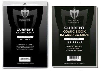 500 Thick Current Modern Comic Book Archival 7X10-1/2 Poly Bags And Boards Max