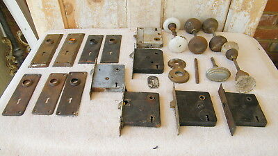 Lot of Vintage Door Knobs Back Plates Lock Box Misc. Reclaimed Salvage Hardware