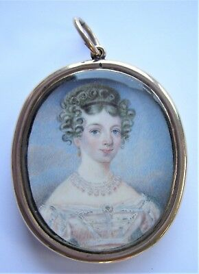 NO RESERVE  Portrait Miniature of a young lady c. 1825-30 Vintage Antique