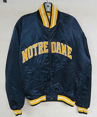Vintage Notre Dame Satin Jacket Fighting Irish Starter College Snap Up Mens Xl