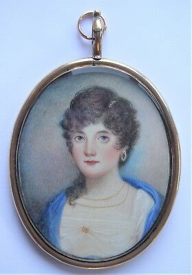 NO RESERVE  Portrait Miniature of a young lady c. 1820 Vintage Antique