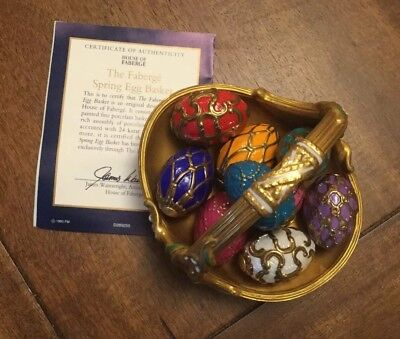 FABERGE Spring Egg Basket 9 Eggs Porcelain 1990 w/ COA Beautiful Excellent Cond