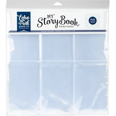 """My Story Book Album Pocket Pages 12""""x12"""" 10/pkg-(6) 4""""x6"""" Horizontal Openings"""