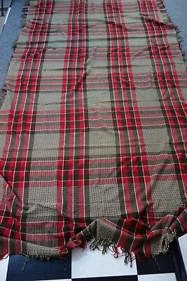 HUGE Victorian Wool Plaid Blanket-56x116-Barn Red,Cream,Brown-Double Length-SALE