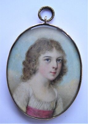 NO RESERVE  Portrait Miniature of a child c. 1790 Vintage Antique