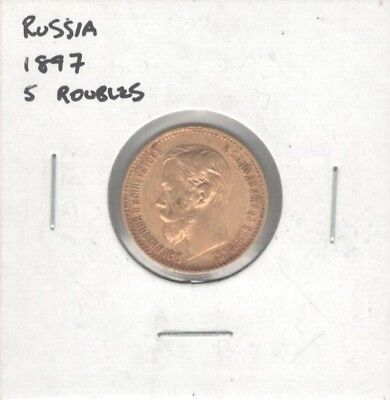 Aloha Coin Lot #55 1897 Russia 5 Rubles Roubles Gold Coin Y# 62
