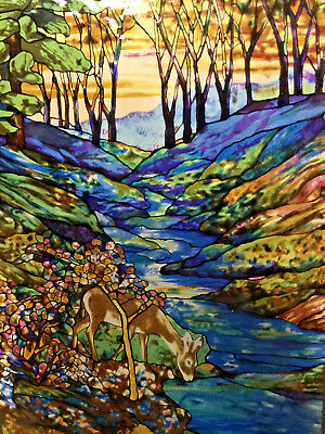LOUIS C. TIFFANY Glassmasters Suncatcher Stained Glass Style Panel Deer in Woods