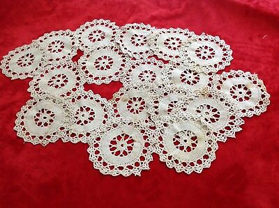 """18 Aged Vintage Crocheted Circles Doily Pieces 4.5""""  Upcycle Embellishment Craft"""