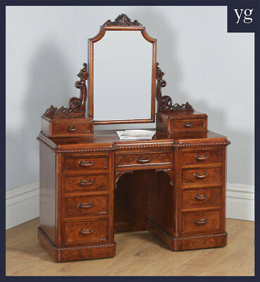 Antique English Victorian Burr Walnut Pedestal Dressing Table with Mirror c1880
