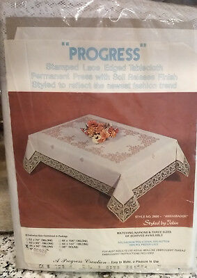 """Progress Stamped Lace Edged Tablecloth 68 x 90 Oblong """"AMBASSADOR"""" Style 2400"""