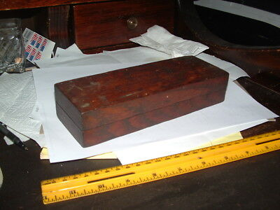 Large Antique Knife Sharpening Stone In Nice Oak Box That Holds The Stone Still!