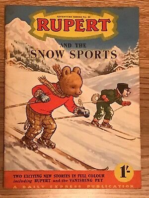 Vintage RUPERT AND THE SNOW SPORTS A Daily Express Publication 1954 #23
