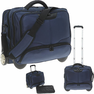 Laptoptrolley Trolley Business XL Trolly Kabinentrolley Aktentasche 3456ny Blau