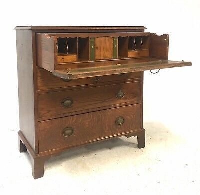 Antique Early 20th Century Georgian Style Oak Chest of Drawers / Desk Bureau