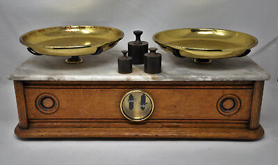 Antique Apothecary Balance Scale Wood Base Marble Top TROEMNER? + 3 Weights