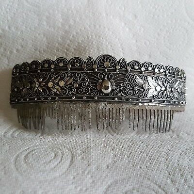 Antique Indonesian solid silver hair comb elaborate moth leaf decoration signed