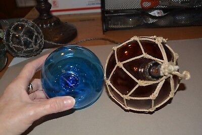 Vintage Glass Buoy Balls Blue and Brown