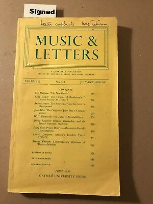 "Music & Letters. Vol. 62 Nos 3-4. July-Oct 1981. ""Ivor Gurney's Mental Illness"""