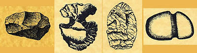 Stone Age 4 Unmounted Rubber Stamps Neolithic Tool Rubber Stamp Set