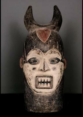 Outstanding Tribal Large Igbo Spirit  Mask With Horn     --  Nigeria
