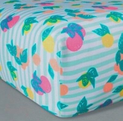 Oh Joy! Woven Fitted Crib Sheets - Fruit Stripes Turquoise Green Bright Colors