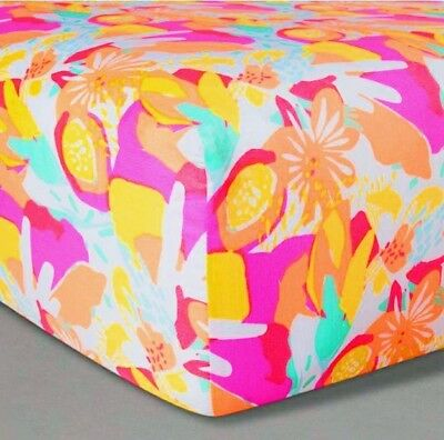 Oh Joy Target Fitted Crib Sheet Bright Floral Pink Baby Nursery + Free shipping