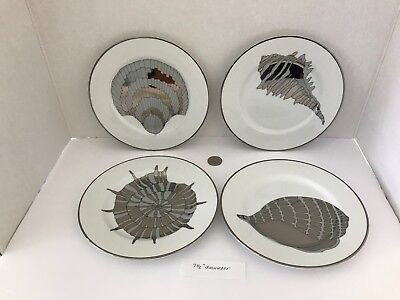 Fitz & Floyd COQUILLE PLATINEE MCMLXXXI FF128 Shell Salad Plates - Set of 4