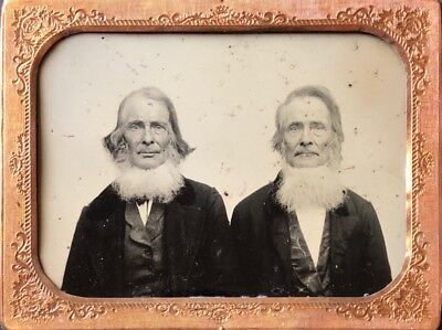 "Half plate ruby ambrotype 2 long haired bearded old timers 4 1/4"" by 5 1/2"""
