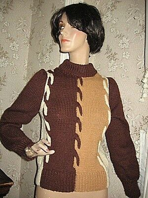 Lovely Vintage1960 Warm Dk Brown/tan/cream Pullover Sweater-Hand Knit By Grandma