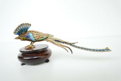 Vintage Chinese Filigree Gilded Silver & Enamel Figurine Bird
