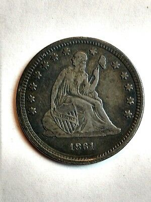 1861 Seated Liberty Silver Quarter