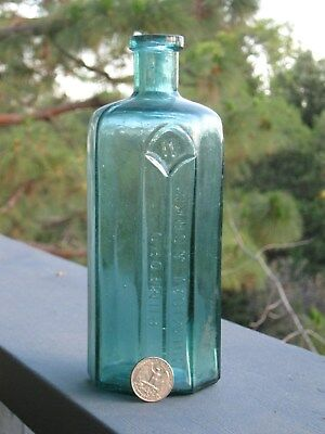 "Antique 8 sided Teal blue green 8"" tall Rumsford Chemical works colored bottle"