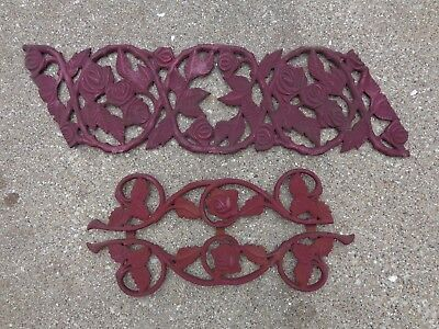 Vintage Cast Iron Floral Design Architectural Salvage railing Pieces ~ 2 LOT
