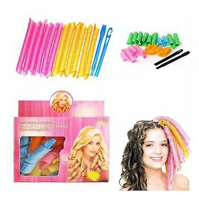 18pc Magic Hair Curlers Curly Rollers Styling Set Spiral Ringlet Hairband Tool