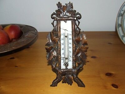 Antique Black Forest Finely  Carved And Detailed Wooden Thermometer