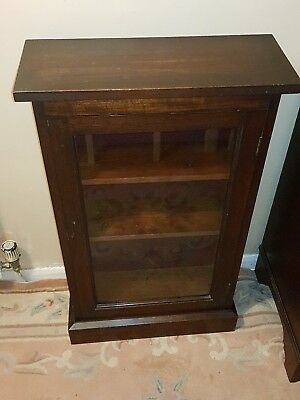 "Antique Mahogany display cabinet brillant freestanding 34"" fairs shows with key"